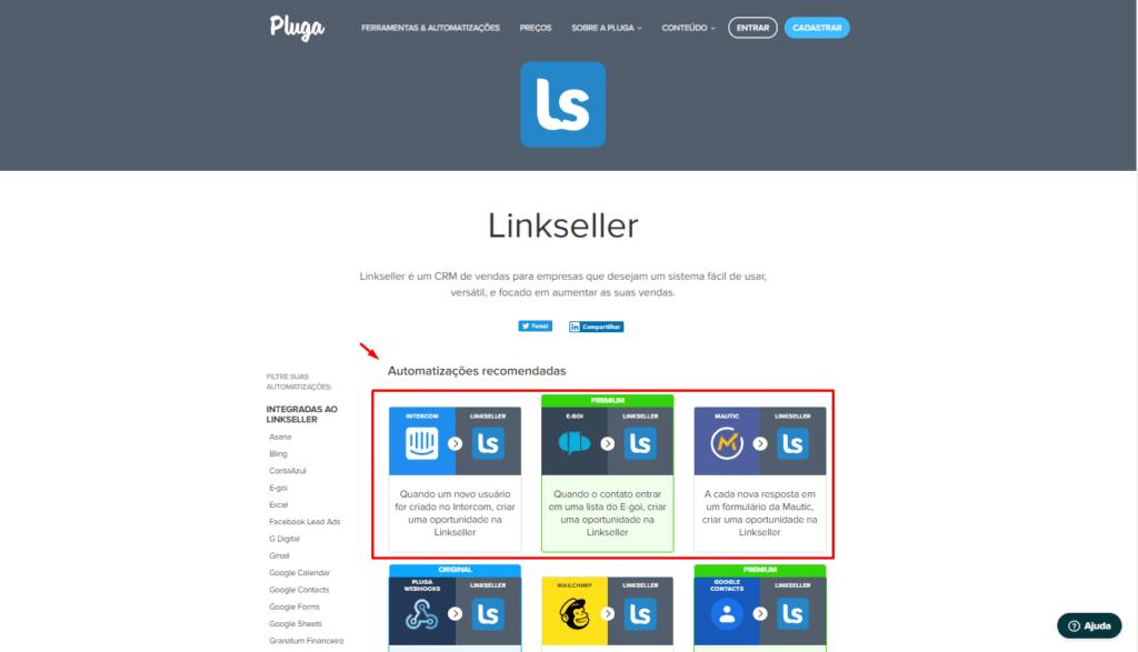 Integração entre a Pluga e a Linkseller - Como usar passo 1