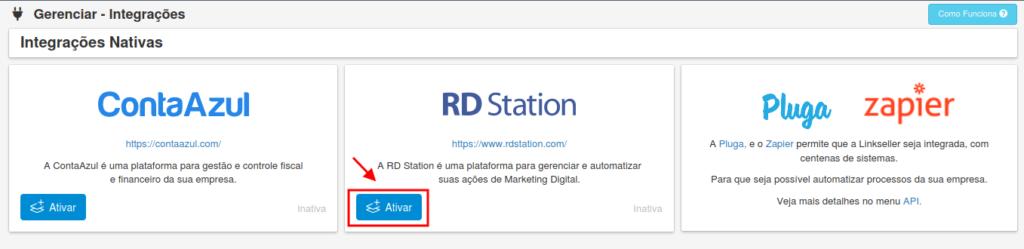 Integração entre a RD Station e a Linkseller - Lista de Integrações
